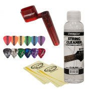 ChromaCast JB-GCLEANP Guitar String Cleaning and Care Bundle with Winder, Cleaner, Polish Cloth and 12 Picks