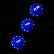 Strat style Guitar Control knobs Set (2 Tones, 1 Volume) ,Blue