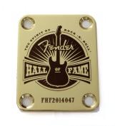 Fender Hall of Fame - Custom Engraved Guitar Neck Plate - Gold