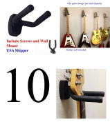 Top StageTM Lot of 10 Guitar Hangers Holder Rack Wall Mount Display with Screws, GRAK-10