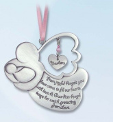 Pretty GUARDIAN ANGEL Baby GIRL Crib Medal 10cm PEWTER Medal/CHRISTENING/SHOWER GIFT/Baptism KEEPSAKE/with PINK RIBBON/GIFT BOXED/INFANT - Newborn