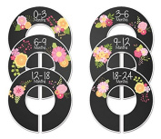 #C191 Chalkboard Flowers Girl Baby Closet Dividers Clothes Organisers Set of 6