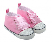 Baby Girl Infant Toddler Canvas Sneaker - Pink with Rhinestones