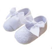 Elee Baby Girl Christening Baptism Flower Toddler Shoes Soft-sole Non Slip Dance Ballerina Slipper with Bow Ribbon