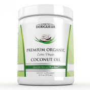 Cosmetics Derigueur Organic Extra Virgin Coconut Oil ★ 470mls of the Best Cold Pressed Coconut Oil You Can Buy ● All Natural Deep Conditioner for Natural Hair Leaves Your Hair Silky Smooth ● Natural Skin Moisturiser for Men and Women Gre ..