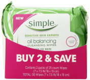 Simple Cleansing Wipes, Oil Balancing 25 ct, Twin Pack