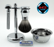 Wet Shave Kit (Deluxe)- Shaving Kit Includes Pure Badger Shaving Brush, Chrome Stand & Double Edge Razor; Deluxe Shave Set, Men Shaving Set, with 10 Double Edge Razor Blades ,Valentines Day Gifts, Valentines Day Gifts for Him