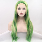 Kuafu Long Straight Synthetic Lace Front Edge Wig Green Colour