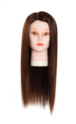60cm Hairdressing 90% Professional Real Hair Female Training Head Cosmetology Mannequin Head W/clamp for College Salon and Professional Hair Cutting Braiding Setting