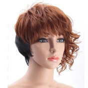 DAYISS Fashion Womens Lady Short Curly Wavy Hair Full Wig Black Brown Ombre Costume Party Heat Resistant Wig