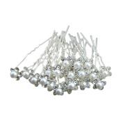 20Pcs Pearl Flower Rhinestone Crystal Hair Clip Pins Bridesmaid for Wedding Bridal