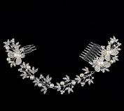 Crystal Diamond Bride Bridal Wedding Hair Head Band Wear Pearl Rhinestone Jewellery Headdress Headband Tiara Coronal Eyebrow Fall Forehead Chain