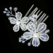 Beautiful Bridal Prom Elegant Austrian Crystal 5 Petals Flowers Hair Comb with Pearl
