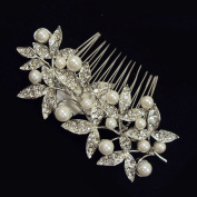 Beautiful Bridal Prom Elegant Austrian Crystal Long Leaves Hair Comb with Pearl Flower