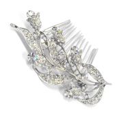 Beautiful Bridal Prom Elegant Austrian Crystal Lilies Flowers Hair Comb with Crystal Flower