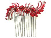 Hair Comb Floral Red Crystal Bridal Bridesmaid Wedding Party Prom