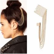 Gold Tone Spike Tassels Hair Comb Ear Cuff Earring Non Pierced Headpiece