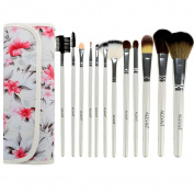 ACEVIVI 12 pcs Vivid Rose Pattern Professional Makeup Brushes Newly-designed Synthetic Hair Makeup Cosmetic Brushes