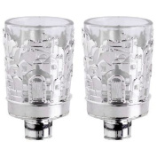 Silver Plated Jerusalem Designed _br_Neronim Votive Candle Holders with Glass