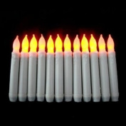 Youngerbaby Set of 12 Yellow Mini Battery Operated Wax Dipped White Body LED Taper Candles, Flameless Taper Candles for Wedding, Halloween, Thanksgiving -Batteries Not Included
