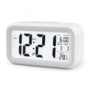 ZHPUAT 13cm Morning Clock,Low Light Sensor Technology,Light On Backligt When Detect Low Light,Soft Light That Won't Disturb The Sleep,Progressively Louder Wakey Alarm Wake You Up Softly.Colour Grey White