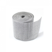 12cm x 10 Yards Silver DIAMOND MESH WRAP RHINESTONE Ribbon
