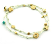 Cream Double Wrap Gold Plated Ties Handmade Charm Anklet for Happiness & Love