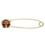 18K Yellow Gold Safety Pin with Red Lady Bug