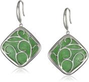 Sterling Silver Green Jade Scroll Overlay Drop Earrings