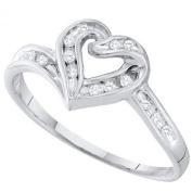 0.08 Carat (ctw) 10K White Gold Round White Diamond Ladies Heart Promise Ring