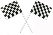 Oasis Supply 36 Count Cake/Cupcake Topper, Black and White Racing Chequered Flags
