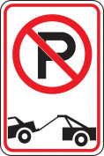 "Accuform Signs FRP166RA Engineer-Grade Reflective Aluminium Parking Sign, Legend ""(NO PARKING / TOW-AWAY SYMBOL)"", 46cm Length x 30cm Width x 0.2cm Thickness, Red/Black on White"