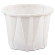 SOLO Cup Company Treated Paper Soufflé Portion Cups, 90ml, White, 250/Bag - 20 sleeves of 250 cups. 5000 per case.