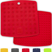 Multipurpose Premium Silicone Trivet (Set of 2) | Pot Holder - Spoon Rest - Jar Opener - Pitcher Coaster | Sturdy, Thick & Flexible, Available in 5 Vibrant Colours | A Fun & Practical Birthday Gift Idea & Ideal for Bridal Showers, Weddings & Housewarmi ..