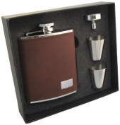 "Visol ""Hunter"" Leather Stainless Steel Hip Flask Gift Set, 180ml, Dark Brown"