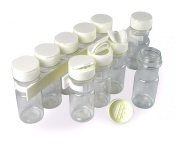 SpiceStor 10cm Clear Spice Bottle Set with Organiser (10-Pack), Clear Bottle with White Cap