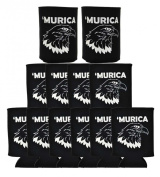 Funny Beer Coolie Murica Bald Eagle 12 Pack Can Coolies Black