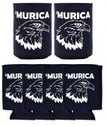 Funny Beer Coolie Murica Bald Eagle 6 Pack Can Coolies Navy