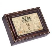 50th Anniversary Dark Burl Wood Finish with Gold Trim Jewellery Music Box - Tune Pachelbel's Canon in D
