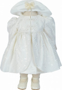 Girls Cream Embroidered Jacket Dress and Hat Set 0-3 - 9-12 Months