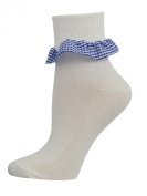 3 Pairs of Baby Girls White Cotton Ankle Socks with a Gingham Frill. UK made by SocksAndTights