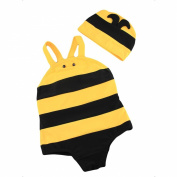 LOCOMO Cute Boy Girl Kid Unisex Honey Bee Swimwear Swimsuit Bikini Bodysuit Hat Cap Yellow Black Striped Large FBS003L