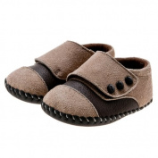 Little Blue Lamb Soft Baby Boys Shoes Brown Button 6-12 Months