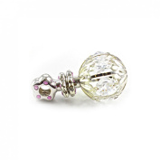 Veka Baby Products-Pink Silver Plated Crystal Gift Rattle 7cm