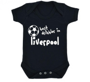 Funny Best Dribbler in Liverpool Design Baby Bodysuit Black with White Print