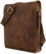 """LEABAGS - Unisex Leather Cross Body Flapover Shoulder Bag """"LONDON"""" Vintage Style made of Genuine Buffalo Leather"""