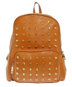 New Girly Handbags Faux Leather Rucksack Gold Studs Backpack School Punk Fashion Womens