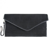 Womens Small Genuine Italian Suede Leather Elegant Envelope Clutch Evening Bag