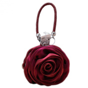 Eleoption Lovely Satin Flower Evening Bag Handbag Women Clutch