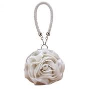 Eleoption Lovely Satin Flower Evening Bag Handbag Women Clutch